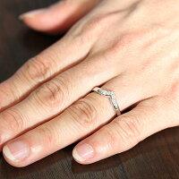 K18WGダイヤモンド0.05ctマリッジリングK18V字ペアリング