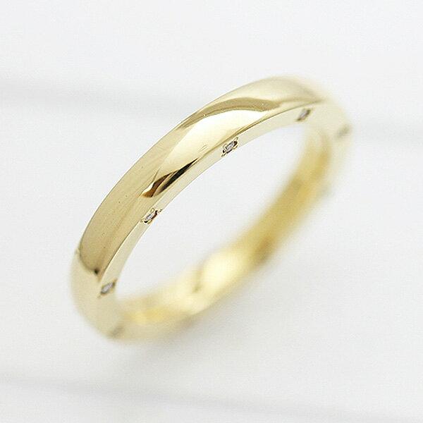 K18YG ダイヤモンド 0.10ct イエローゴールド マリッジリング レディースリング【結婚指輪】