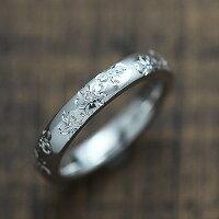 PT900ダイヤモンド0.03ctプラチナ手彫り彫刻桜マリッジリングレディースリング