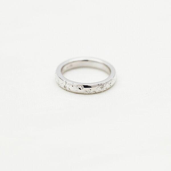 PT900(Pt90%) ダイヤモンド 0.03ct プラチナ 手彫り彫刻 桜 マリッジリング レディースリング【結婚指輪】