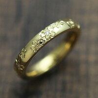 K18YGダイヤモンド0.03ctイエローゴールド手彫り彫刻桜マリッジリングレディースリング