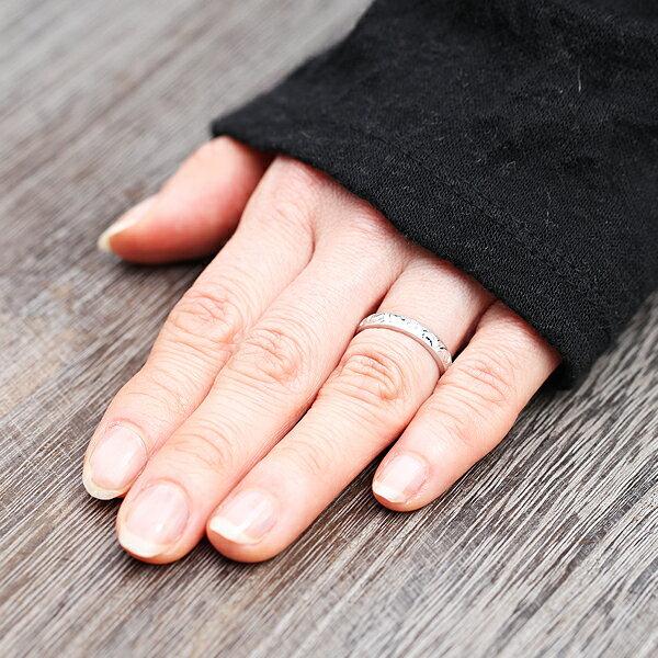 PT100(Pt10%)  ダイヤモンド 0.08ct プラチナ 手彫り彫刻 ハワイアンジュエリー マリッジリング ペアリング【結婚指輪】