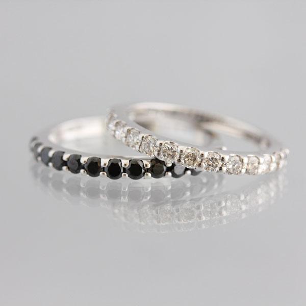 PT900(Pt90%) ホワイトダイヤモンド/ブラックダイヤモンド ハーフエタニティリング ペアリング【結婚指輪】