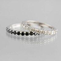 K18WGホワイトダイヤモンド/ブラックダイヤモンドハーフエタニティペアリング