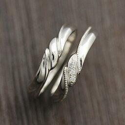結婚指輪 ペアリング 2本セット価格 PT100 (プラチナ10%) ミル リボン ダイヤモンド 0.03ct マリッジリング クリスマス 彼女
