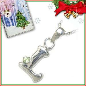 911312クリスマスカード付ジュエリーイニシャルモチーフペンダント「L」