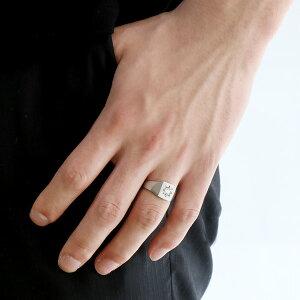 メンズ印台リング指輪ダイヤモンド0.20ct一粒K18ホワイトゴールドリング男性用【_包装】【02P23Apr16】【母の日】