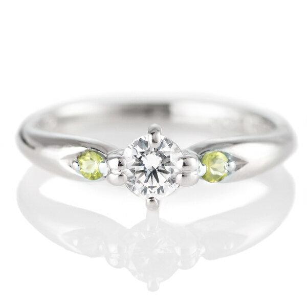 婚約指輪(エンゲージリング)( 8月誕生石 ) ペリドット プラチナ ダイヤモンドリング(ラウンドブリリアント)【楽ギフ_包装】【DEAL】