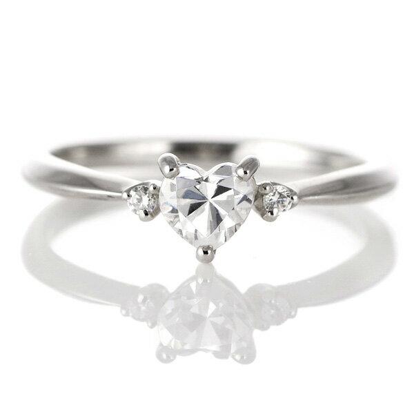 婚約指輪 ダイヤモンド ダイヤ プラチナ リング ハート 天然石 サイドダイヤモンド エンゲージリング【楽ギフ_包装】【DEAL】