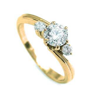 婚約指輪 ダイヤモンド ダイヤ リング エンゲージリング  K18イエローゴールド SIクラス 0.20ct 鑑定書付