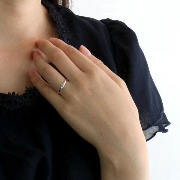 リング レディース ホワイトゴールド シンプル 細身 指輪 ストレート 人気 刻印無料 マリッジリング 結婚指輪 カップル 甲丸