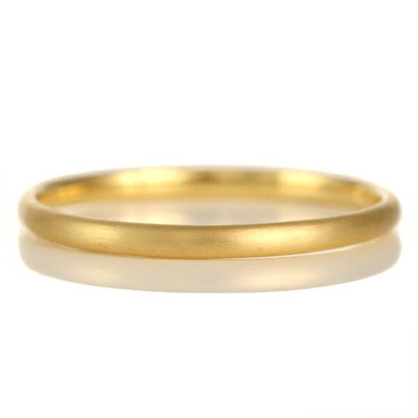 結婚指輪 マリッジリング K18イエローゴールド 18金 つや消し マット仕上げ 甲丸 2本セット【楽ギフ_包装】