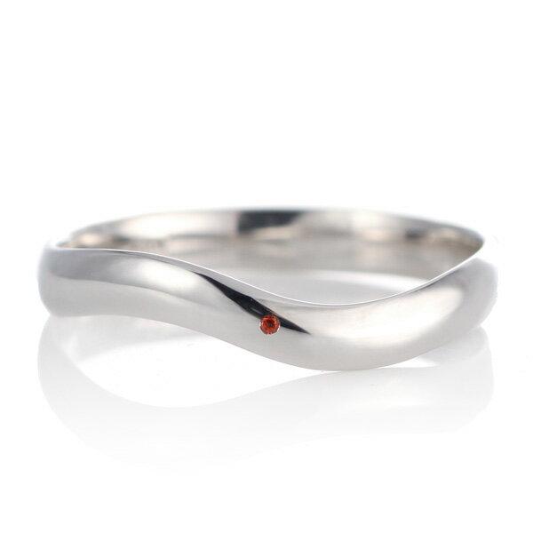 結婚指輪 マリッジリング プラチナ 甲丸 ウエーブ 天然石 ガーネット【楽ギフ_包装】