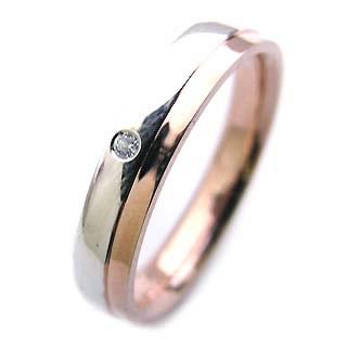 ( Brand Jewelry Angerosa ) Pt・K18PGダイヤモンドペアリング【楽ギフ_包装】