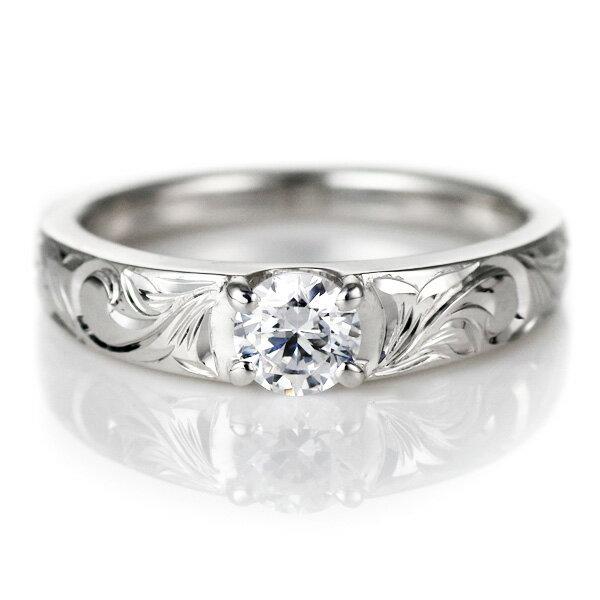 結婚指輪 マリッジリング 人気 ハワイアンジュエリー ペアリング ダイヤモンド 一粒 大粒 SI ホワイトゴールド 結婚式 18金 K18WG ダイヤ ストレート カップル