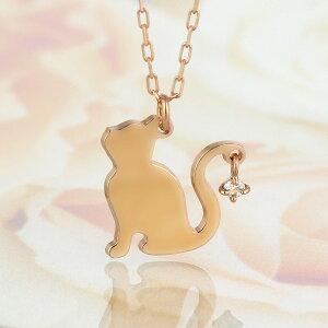 ,ダイヤモンドネックレスピンクゴールド猫【楽ギフ_包装】