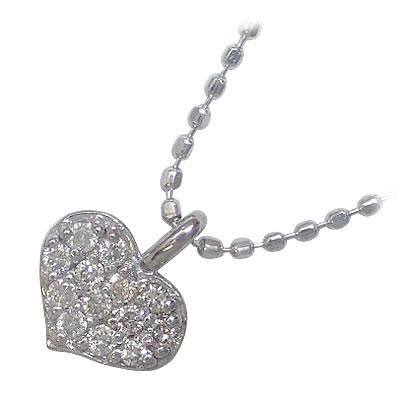 ( 4月誕生石 ) K18ホワイトゴールドダイヤモンドペンダントネックレス(ハートモチーフ)【楽ギフ_包装】【DEAL】