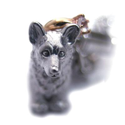 ムーンストーン ( 6月誕生石 ) シルバー K10ムーンストーン入り携帯ストラップ(ウェルシュ・コーギー) 犬 【楽ギフ_包装】