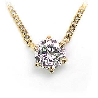 ネックレス 一粒 ダイヤモンド ネックレス K18イエローゴールド ダイヤモンドネックレス ダイヤモンド ダイヤ 0.1カラット【楽ギフ_包装】