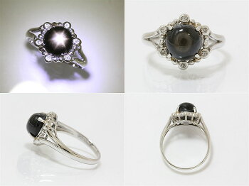 Pt900ブラックスターサファイア4.07ct/ダイヤモンド計0.08ctリング<11号/#11>プラチナ【指輪】【ジュエリー】【新品仕上げ済み】【RCP】