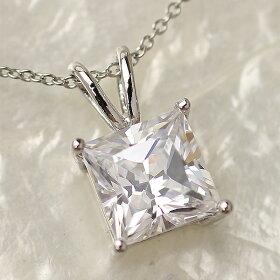 3カラットプリンセスカットczダイヤモンドネックレス