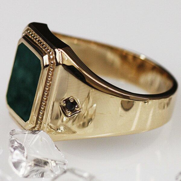 メンズリング 印台 ヒョウ柄 彫り ブラックダイアモンド 指輪 ring K10YG 男性用 ジュエリー ギフト プレゼント