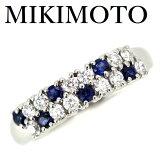 ミキモトブルーサファイア0.24ctダイヤモンド0.35ctパヴェリングPt950【中古】