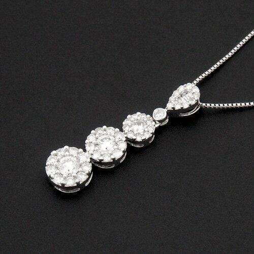 18金 ダイヤモンド0.5ct スリーストーンネックレス ペンダント 0.5ctカラット K18WG ホワイトゴールド ダイアモンド レディース プレゼント ギフト 記念日 誕生日