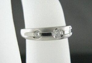 K18WGダイヤモンドリングスリーストーンD0.15ct指輪ギフト対応