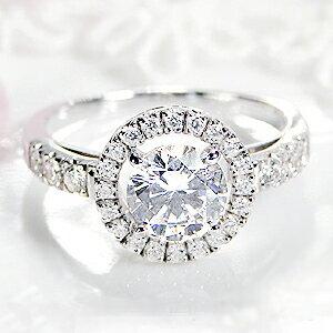 pt950 超大粒 1.0ct 豪華 ダイヤモンド 取り巻き リング