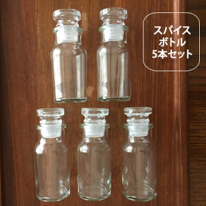 スパイスボトル5個セット【調味料入れ おしゃれ スパイスボトル 調味料 ボトル スパイスボトルセット ガラス 調味料入れ 塩コショー入れ 密閉 七味 容器 日本製 塩 薬さじ】
