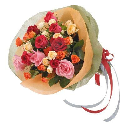【ミックス・花束・ローズ・バラ】お祝い・お誕生日・結婚お祝・出産お祝・開店お祝・結婚記念日・お礼・発表会・季節のお花・お返しプレゼント・成人式・バレンタイン・ホワイトデー・退職祝い・入学祝いなど