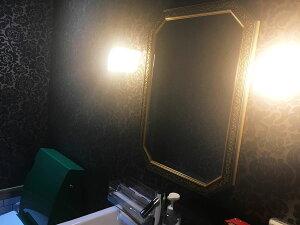 (再入荷!)鏡ミラー壁掛け鏡ウォールミラー【イタリア製】【JHAアンティーク風水ミラー】(ダークグリーン・ブルー・ゴールド)八角形W475×H676(風水鏡玄関洗面トイレおしゃれ店舗)