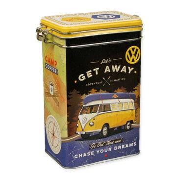 フォルクスワーゲン 小物入れ 収納 おしゃれ かっこいい ブリキ缶 ワーゲンバス タイプ2 VW アメリカ アメリカン雑貨 クリップトップボックス VW Bulli Let's Get Away_SR-43104-HYS