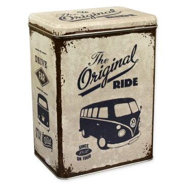 フォルクスワーゲン 小物入れ 収納 おしゃれ かっこいい ブリキ缶 ワーゲンバス タイプ2 VW アメリカ アメリカン雑貨 ティンボックス Lサイズ VW Bulli The Original Ride_SR-43107-HYS