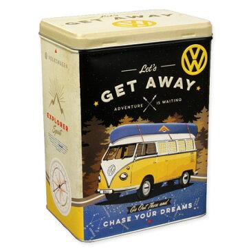 フォルクスワーゲン 小物入れ 収納 おしゃれ かっこいい ブリキ缶 ワーゲンバス タイプ2 VW アメリカ アメリカン雑貨 ティンボックス Lサイズ VW Bulli Let's Get Away_SR-43110-HYS