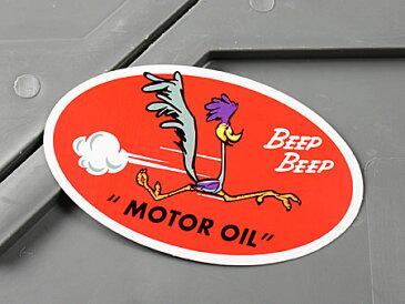 ロードランナー ステッカー ルーニー・テューンズ 車 バイク アメリカン かっこいい カーステッカー MOTOR OIL 【メール便OK】_SC-MS068-FEE