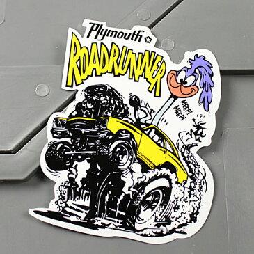 ロードランナー ステッカー ルーニー・テューンズ 車 バイク アメリカン かっこいい カーステッカー プリムス Plymouth 【メール便OK】_SC-MS077-FEE