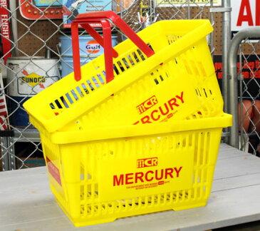 マーキュリー バスケット 収納 かご ポリプロピレン おしゃれ マーケットバスケット 買い物かご 洗濯物 洗車 小物入れ アメリカ アメリカン雑貨 MERCURY イエロー 2個セット_MC-MEMABAYE2P-MCR