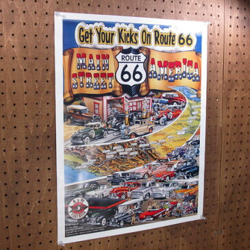 ルート66 ポスター レトロ ROUTE66 アメ車 アメリカ アメリカン雑貨 Get Your Kicks On Route66_PT-010-FEE