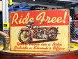 サインプレート アンティーク 看板 サインボード ガレージ バイク Ride Free! サイズS アメリカ アメリカン雑貨 【メール便OK】_SP-Z0427-FEE