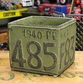 プランター(鉢)アメリカンアンティークナンバープレートグリーンサイズS