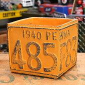 プランター(鉢)アメリカンアンティークナンバープレートイエローサイズS