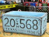 プランター(鉢)アメリカンアンティークナンバープレートブルーサイズL