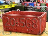 プランター(鉢)アメリカンアンティークナンバープレートレッドサイズL