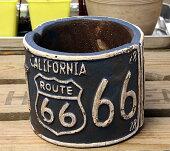 プランター植木鉢アメリカンアンティーク調ルート66ROUTE66ミニラウンドブルー