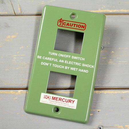 マーキュリー スイッチプレート スイッチカバー コンセントカバー コンセントプレート スチール製 オシャレ アメリカ アメリカン雑貨 MERCURY 2ヶ口 カーキ 【メール便OK】_MC-MESWPL2K-MCR