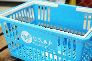US AIR FORCE(アメリカ空軍) バスケット 収納 かご プラスチック おしゃれ ミリタリー マーケットバスケット 買い物かご CDケース 洗車 小物入れ アメリカ アメリカン雑貨 サイズS_SB-001S-SHO
