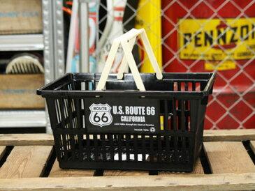 ルート66(ROUTE66) バスケット 収納 かご プラスチック おしゃれ マーケットバスケット 買い物かご CDケース 洗車 小物入れ アメリカ アメリカン雑貨 サイズS_SB-002S-SHO