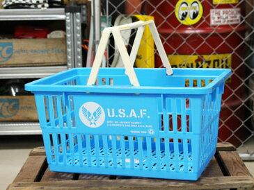 US AIR FORCE(アメリカ空軍) バスケット 収納 かご プラスチック おしゃれ ミリタリー マーケットバスケット 買い物かご 洗濯物 洗車 小物入れ アメリカ アメリカン雑貨 サイズL_SB-001L-SHO